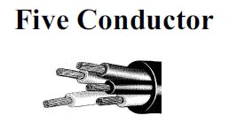 Five conductors cable w type ppe 600/2000 volts