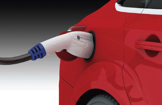 electric vehicle connector plug to red car