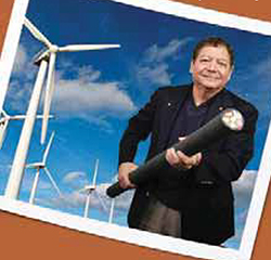 Phil Ramos Jr. Holding wind turbine cable